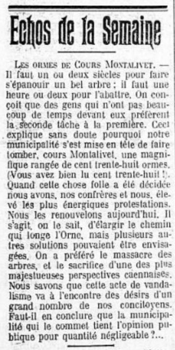 Caen, Armand MARIE, Joël BRUNEAU, 138 ormes, cours Montalivet, 49 tilleuls, place de la République, Malek REZGUI, Laurent CHEMLA