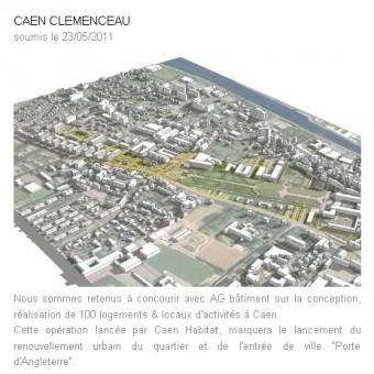 projet de renouvellement urbain du secteur clemenceau,caen habitat,clos joli,philippe duron,xavier le coutour,modification n° 4 du plan d'occupation des sols,lan (local architecture network),benoit jallon,umberto napolitano,olgga,cba architecture,christophe bidaud