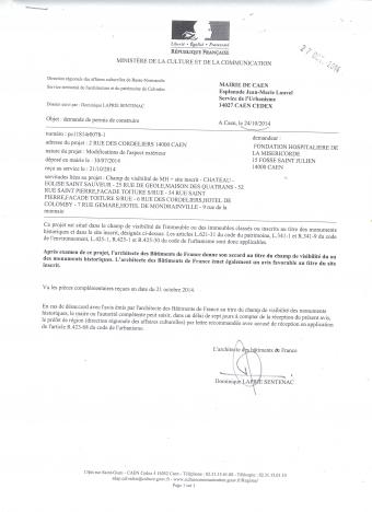Fondation de la Miséricorde, rue Gémare, rue des Cordeliers, permis de construire, Plan local d'urbanisme (PLU) de Caen, Joël BRUNEAU, Sonia de la PROVOTE, Gilles GUERIN, Millet-Chilou architectes, cabinet Billet-Giraud, les balcons de l'université, 160 rue de la Délivrande, 18 rue Savorgnan de Brazza, Thomas BERNARD, Céline LEPOURRY-BERNARD, Site Inscrit de Caen, hôtel de Colomby, héberges, Dominique LAPRIE-SENTENAC, Philippe DURON, Xavier LE COUTOUR