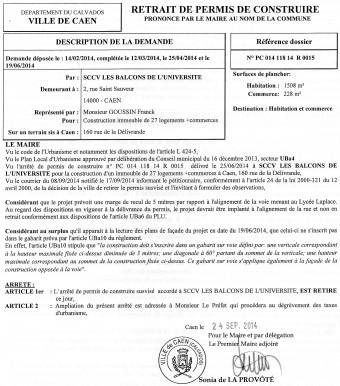 Plan local d'urbanisme (PLU) de Caen, secteur Uba4, TVR alias le tram, Philippe DURON, Xavier LE COUTOUR, groupe BILLET-GIRAULT (2 rue St Sauveur à Caen), SCCV « Les balcons de l'université », 160 rue de la Délivrande, rue d'Hermanville, M. Franck GOUSSIN, Sonia de la Provôté, cabinet d'architectes MILLET CHILOU & Associés, Jacques Millet Prix de Rome